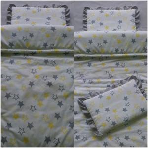 спален комплект  за количка жълти звездички