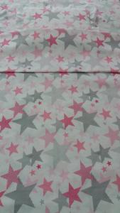 спален комплект  за количка с розови и сиви звездички